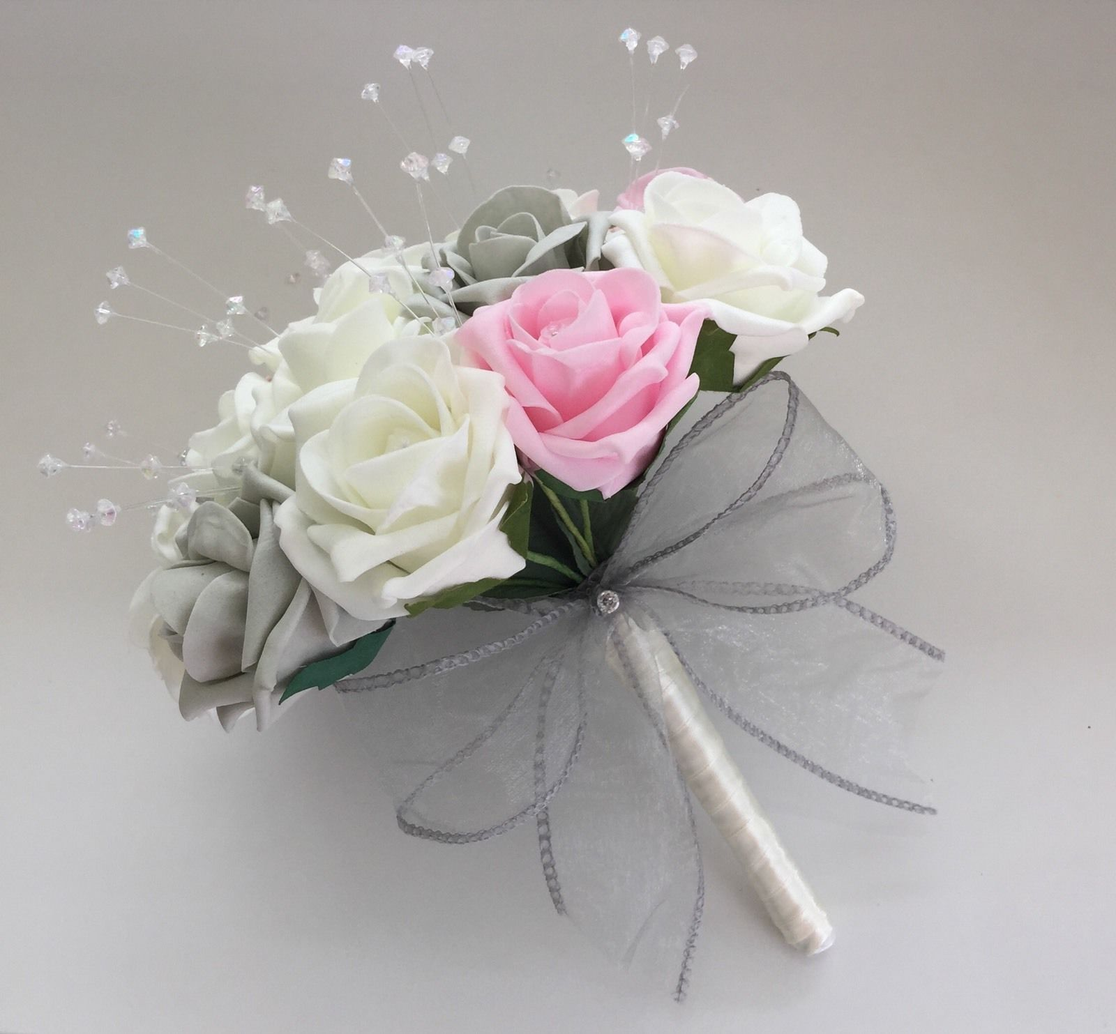 ARTIFICIAL WEDDING FLOWERS PINK IVORY SILVER GREY ROSE BRIDES BOUQUETS